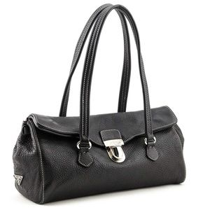 Prada pebbled leather fold over bag